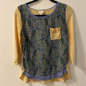 Anthropologie paisley stripe top
